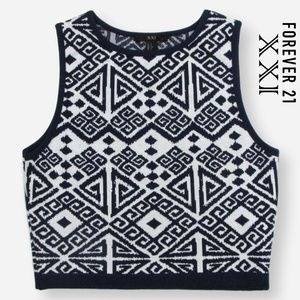 Forever 21 XXI Aztec Sleeveless Knit Crop Top